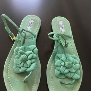 Prada Shoes - Prada Teal Suede Sandals w/ Flower Accent